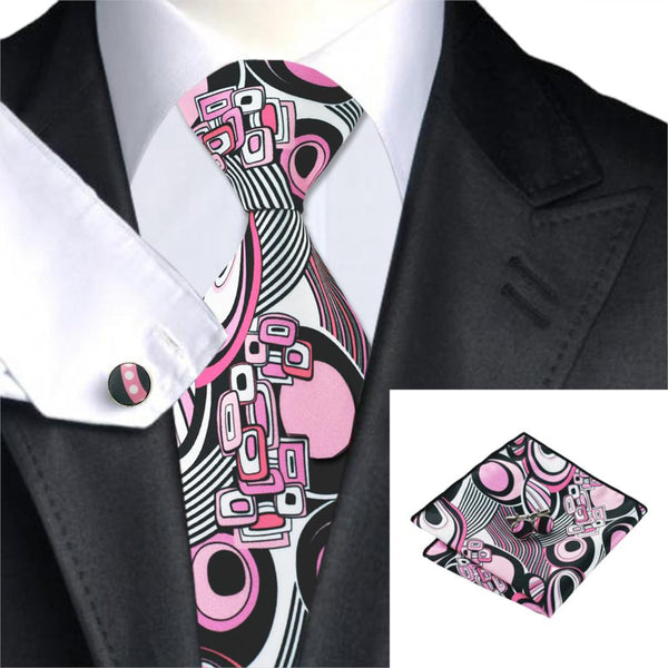 Pink Floral Neck Ties, Handkerchief, and Cuff links - LADSPAD.COM
