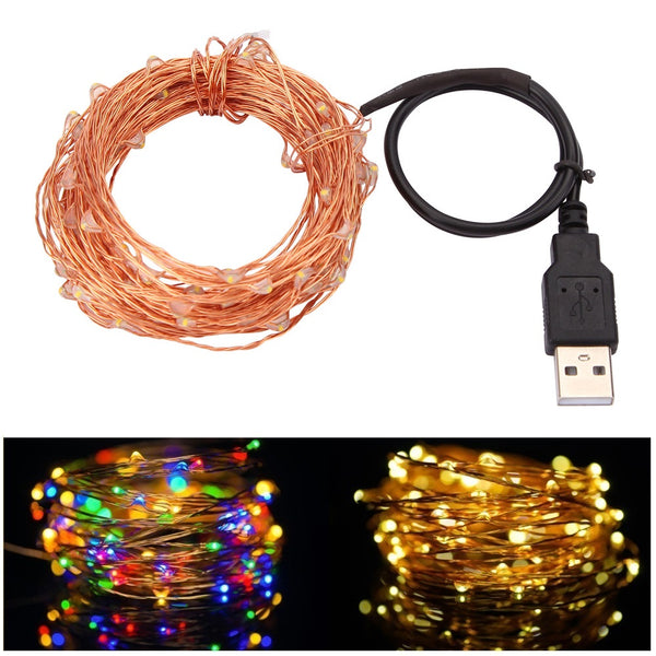 10M 33FT 100 led USB Outdoor Led Copper Wire String Lights - LADSPAD.UK