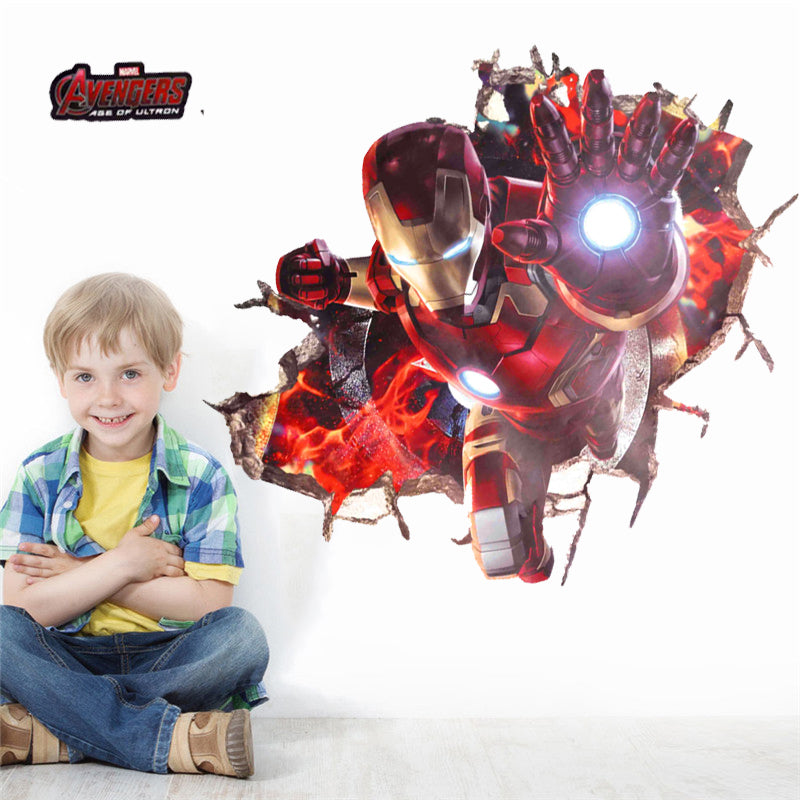 3d effect Iron Man Hero Wall Sticker - LADSPAD.COM