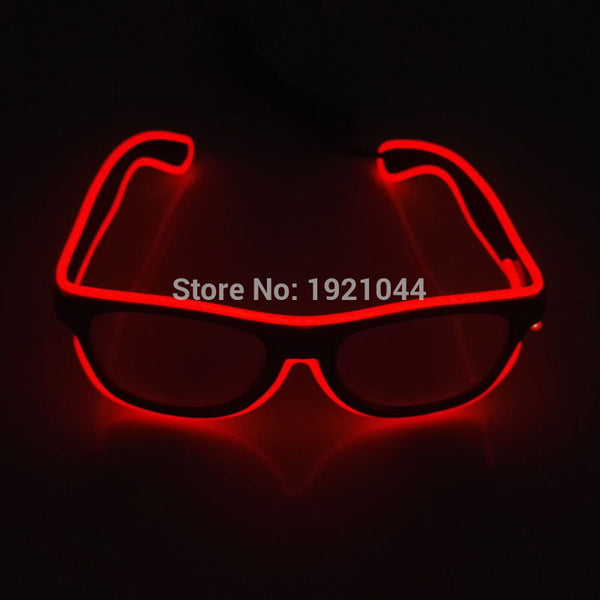 Hot sales EL Glasses EL Wire Fashion Neon LED Light Up Shutter Shaped Glasses Rave Festival Party Decorative Sunglasses - LADSPAD.UK
