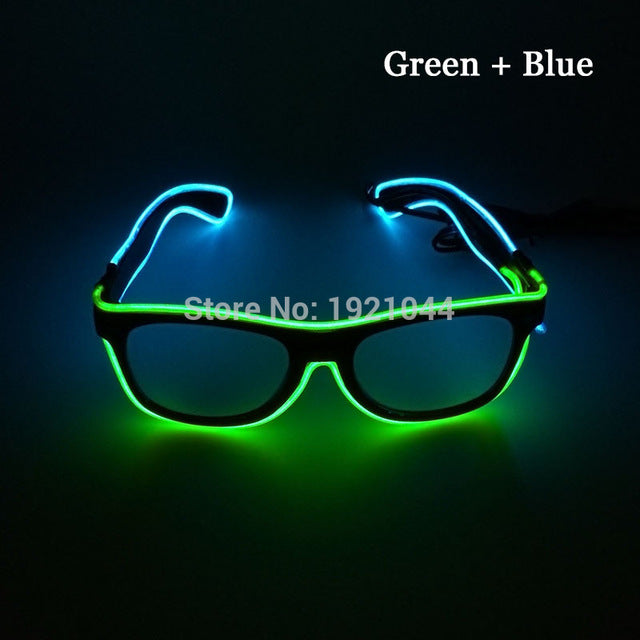 Double Colors Sound Activated EL wire Led Glasses Lighting Colorful Glowing Glasses Luminous glasses For Party Decoration Gifts - LADSPAD.UK