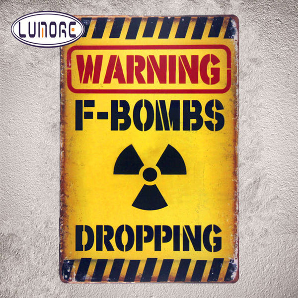 Warning F-Bombs Dropping Tin Metal Sign Funny Humor Office Dorm Man Cave Home Decor Craft Wall Painting - LADSPAD.UK