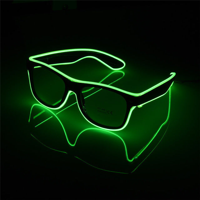 Flashing EL Wire Led Glasses CE Certified Luminous Party Decorative Lighting Classic Gift Bright LED Light Up Party SunGlasses - LADSPAD.UK