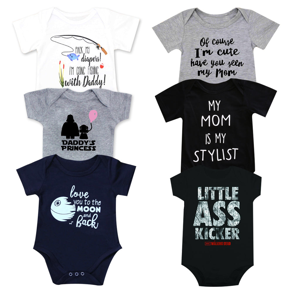 Newborn Baby Clothes Funny Happy Birthday Daddy Letter White Short Sleeve Unisex Bodysuits Tiny Cotton