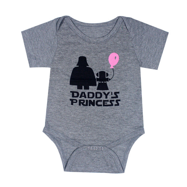 Newborn Baby Clothes Funny Happy Birthday daddy Letter  white short sleeve Baby unisex bodysuits Tiny Cotton Baby Clothes onesie - LADSPAD.COM