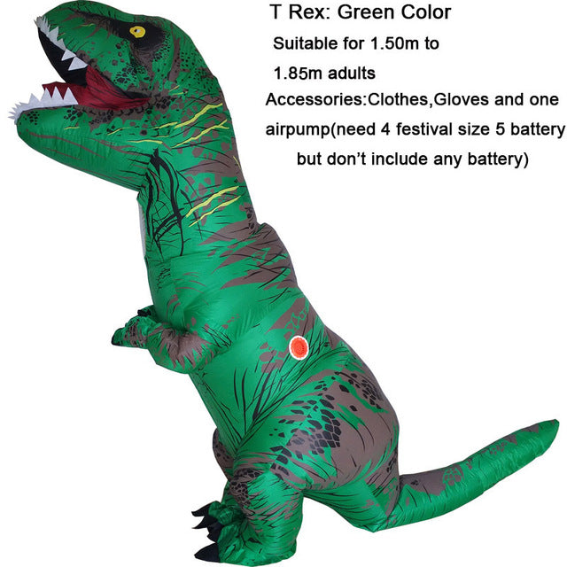 INFLATABLE Dinosaur T REX Costumes for women Blowup T-Rex Dinosaur Halloween Inflatable costume mascot Party costume for adult - LADSPAD.COM