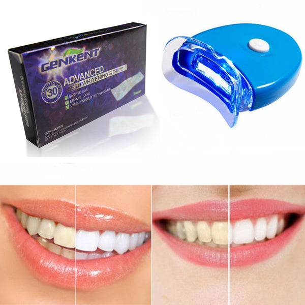 28 PCS Teeth Whitening Strips+Lamp Teeth Whitening Kit - LADSPAD.COM