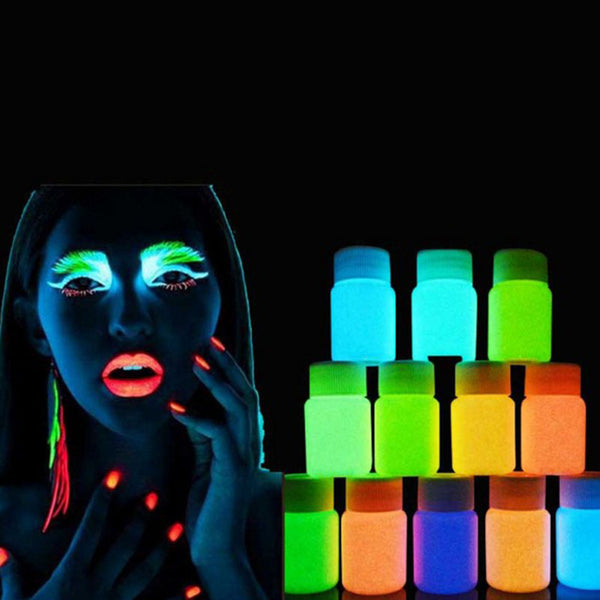 12 Colour Neon Fluorescent Body/Face Paint UV Grow In Dark - LADSPAD.UK