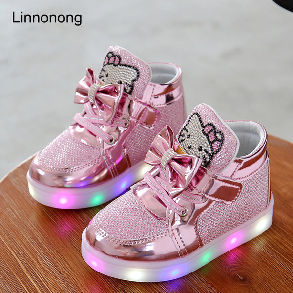 Spring Autumn Kids LED Luminous shoes USB Charger - LADSPAD.UK