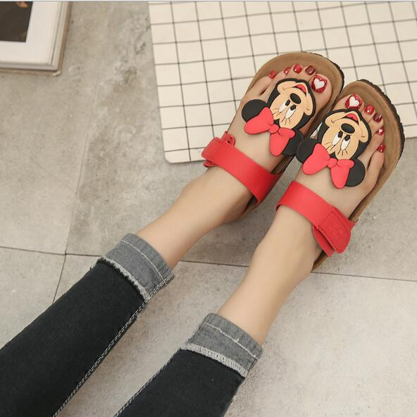 New style cork women's summer shoes Flat with sandals female slippers Mickey cartoon casual wear non-slip beach Flip Flops - LADSPAD.UK