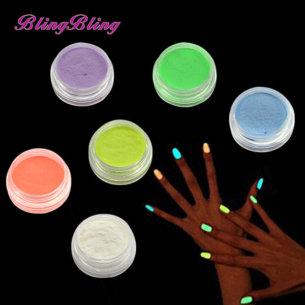 New 6 Color Nail Glitter Glow in the Dark Acrylic Powder - LADSPAD.COM