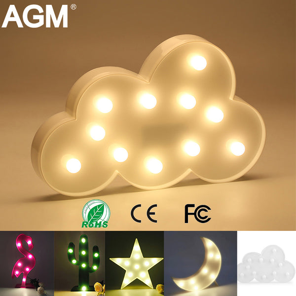 AGM LED Night Light Moon Cloud Light 3D Lamp Novelty Luminaria Flamingo Cactus Star Nightlight Marquee Letter For Children Decor - LADSPAD.UK