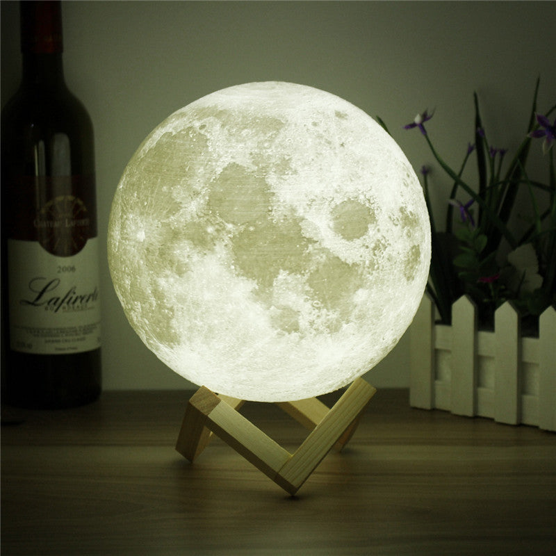 Novelty 3D Full Moon Lamp LED Night Light USB Rechargeable Color Changing Desk Table Light Home Decor 8/10/12/15/18/20cm - LADSPAD.UK