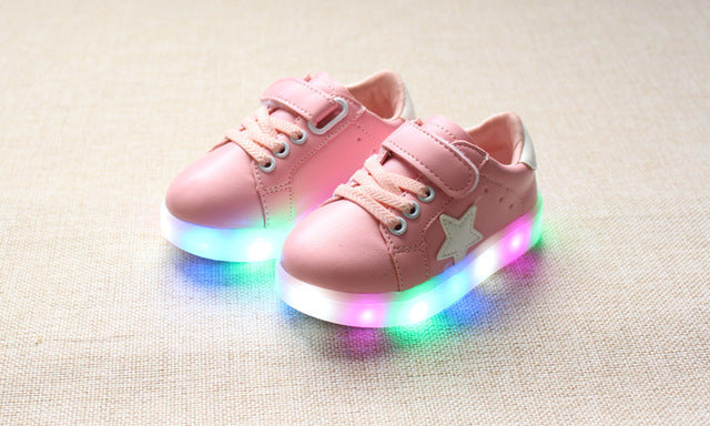 Kids LED Sneakers New children Colourful flashing led light Girls casual shoes Stars Boys Shoe with lights Size 21-30 - LADSPAD.COM