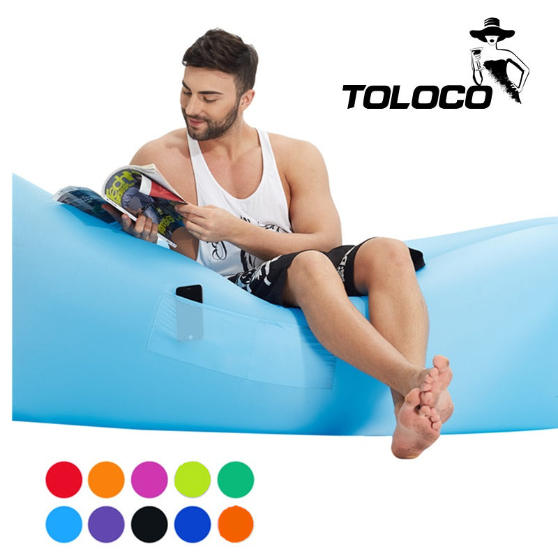 Fast Inflatable hangout Camping Sleep Bed Air Sofa Beach Bed Banana Lounger Air Bed Lazy Sleeping Bag With Side Pocket - LADSPAD.UK