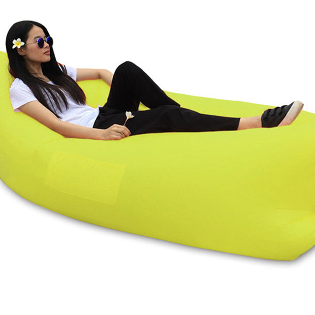 Fast Inflatable hangout Camping Sleep Bed Air Sofa Beach Bed Banana Lounger Air Bed Lazy Sleeping Bag With Side Pocket - LADSPAD.COM
