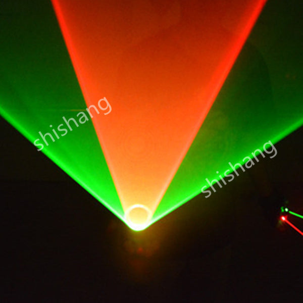 TT Colorful 1 red and 1 green 2 heads laser vortex light gloves