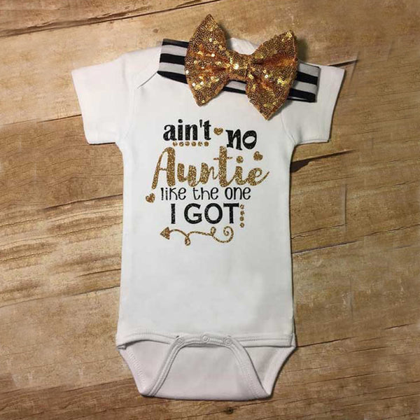 Funny Ain't no Auntie golden Short Sleeve Baby Girl Clothes Tiny Cottons Baby unisex Jumpsuit Bodysuit Short Sleeve Baby onesie - LADSPAD.UK