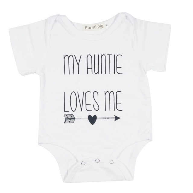 Newborn Baby Bodysuit Short Sleeve Baby Boy Girl Clothes Funny auntie uncle jumpsuit Tiny Cottons Dinosaur Baby Onesie 0-18m - LADSPAD.COM