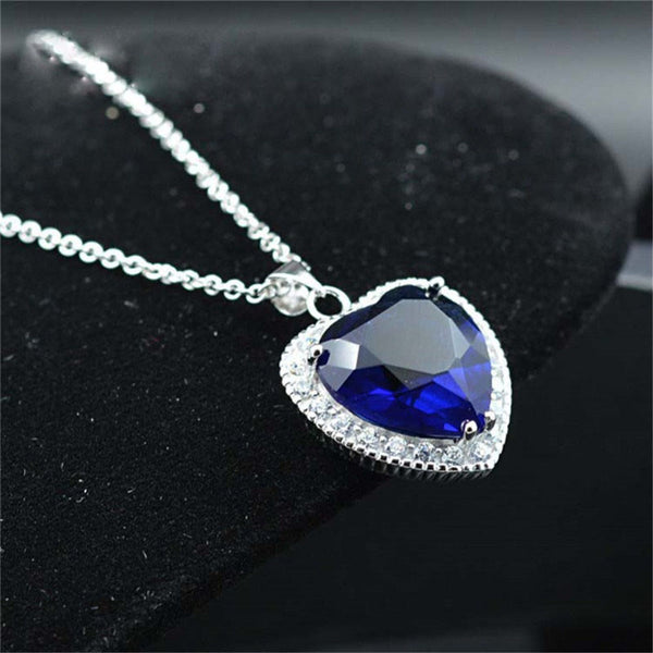 AAA 100% 925 Silver Necklace Valentine's Day Romantic Titanic Heart Pendant  Necklace - LADSPAD.UK