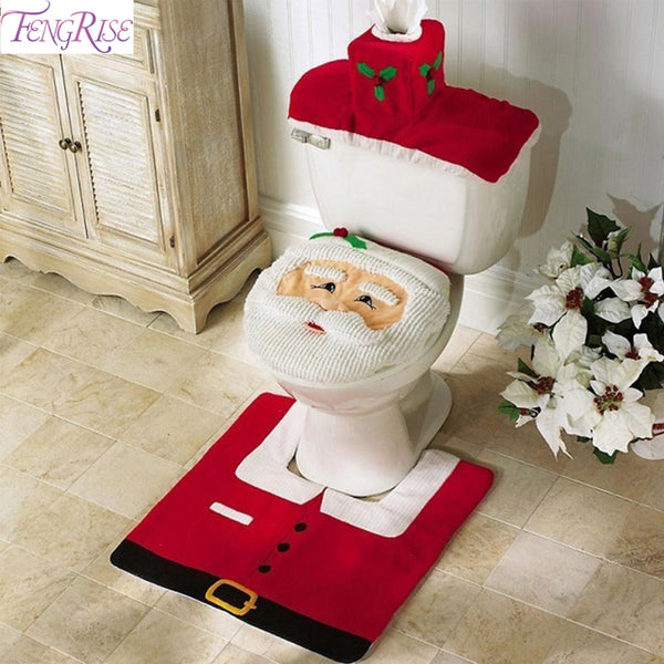 FENGRISE 3pcs Fancy Santa Claus Toilet Seat Cover Rug Bathroom Set Contour Rug Christmas Decoration Navidad Xmas Party Supplies - LADSPAD.UK