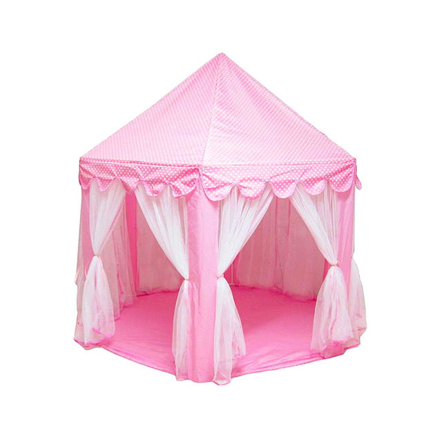 Little J Girl Princess Pink Castle Tents Portable Children Outdoor Garden Folding Play Tent Lodge Kids Balls Pool Playhouse - LADSPAD.COM