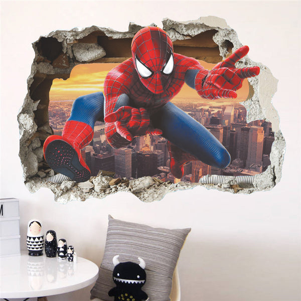 Cartoon Spiderman Broken Wall Sticker - LADSPAD.UK