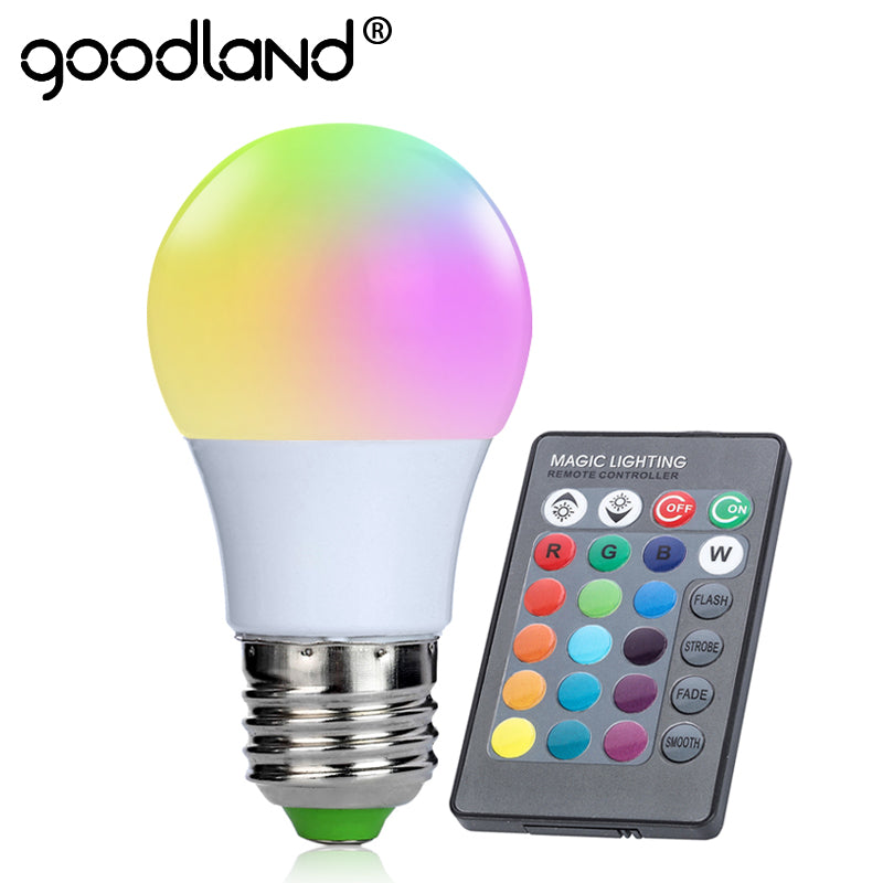 Goodland E27 RGB LED Bulb 3W RGB LED Lamp 220V 110V LED Light  16 Color 24 key IR Remote Control Chandelier for Living Room - LADSPAD.UK