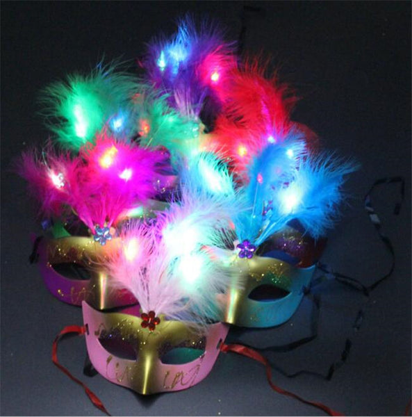 Hot Sale 10pc Led Glowing Party Mask Light Up Flashing Feather Mask Masquerade Fancy Dress Party Birthday Halloween