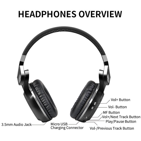 Bluedio T2S(Shooting Brake) Bluetooth stereo headphones wireless headphones Bluetooth 4.1 headset over the Ear headphones - LADSPAD.UK
