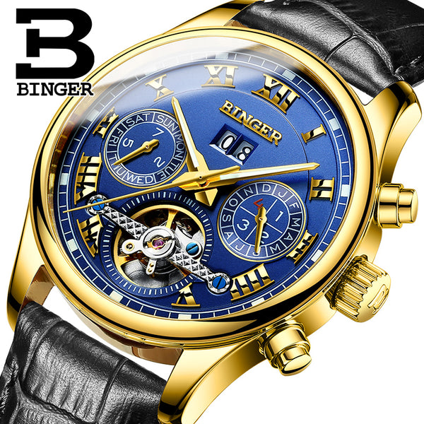 BINGER Tourbillon Men Automatic Mechanical Watch - LADSPAD.UK