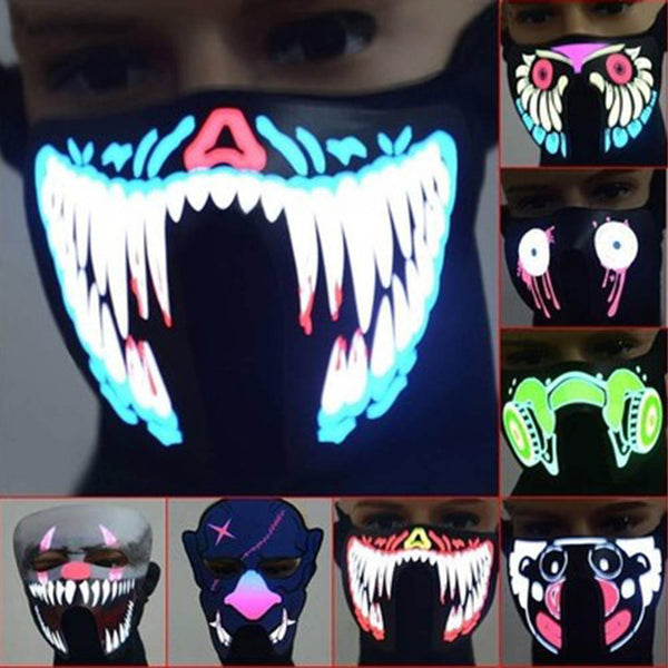3PC/SET Halloween LED Masks Clothing Big Terror Masks Cold Light Helmet Fire Festival Party Glowing Dance Steady On Driver - LADSPAD.UK
