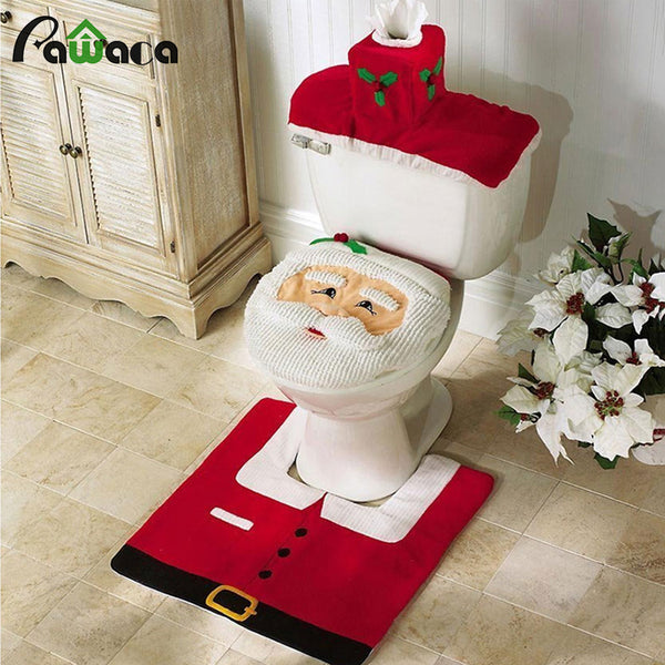 3Pcs/set Christmas Santa Toilet Seat Cover Bath Mat Holder Lid Cover - LADSPAD.UK