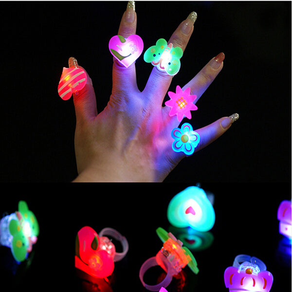 25pcs/lot Cartoon soft led finger ring toy flash luminous ring toy party props light up toy and kids birthday colorful gift - LADSPAD.COM