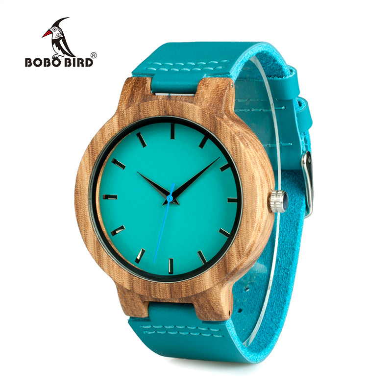 Blue Leather Band Antique Wood Watch - LADSPAD.COM