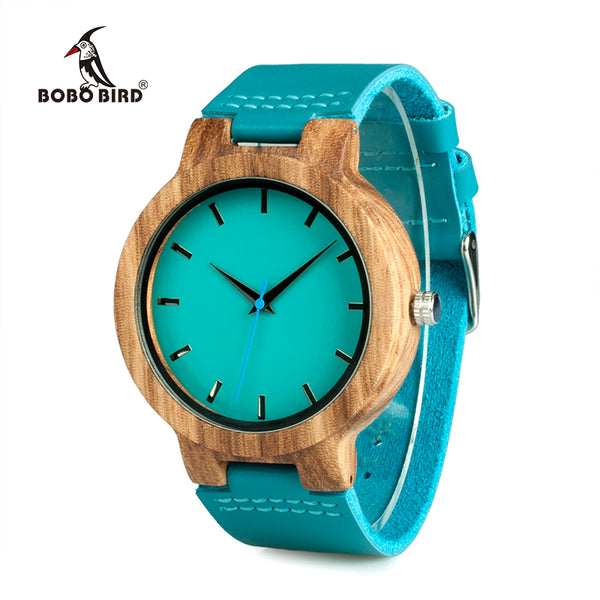 Blue Leather Band Antique Wood Watch - LADSPAD.UK