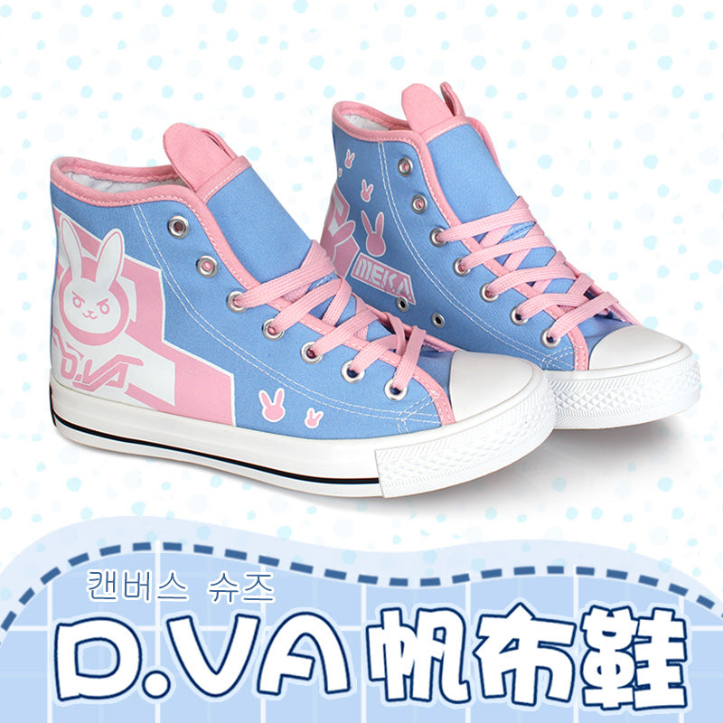 Game OW d.va over and watch D.VA/ Tracer/Mercy Cosplay Boots Flat Heel Custom Shoes Size 36-39 in stock - LADSPAD.COM