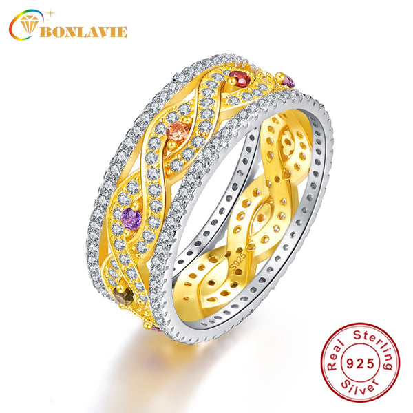 BONLAVIE Citrine+Amethyst Silver Ring 925 Sterling Silver 18K Gold Plated Natural Gemstones - LADSPAD.UK