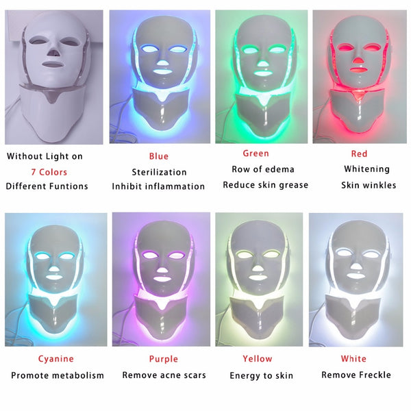 7 Colors Light LED Facial Mask With Neck Skin Rejuvenation Face Care Treatment Beauty Anti Acne Therapy Whitening Skin Tighten - LADSPAD.UK