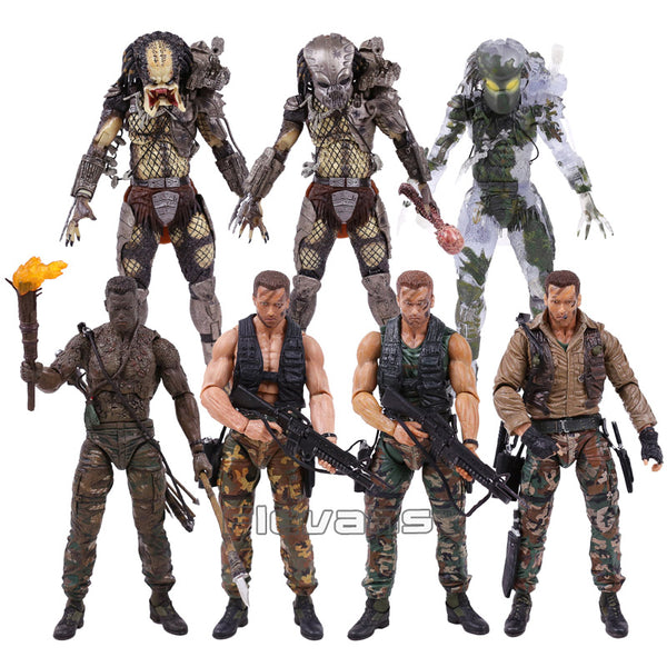 NECA PREDATOR 30th Anniversary Jungle Patrol Encounter Extraction Disguise Dutch Jungle Hunter Unmasked Demon Action Figure 18cm - LADSPAD.UK