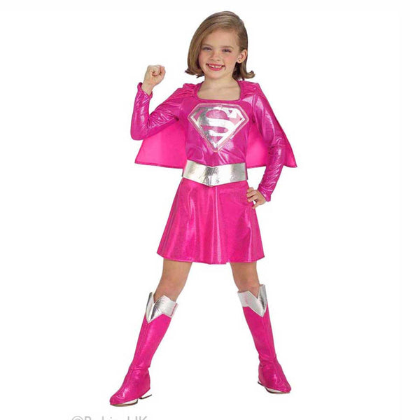CHILDREN'S PINK SUPERGIRL COSTUME - LADSPAD.UK