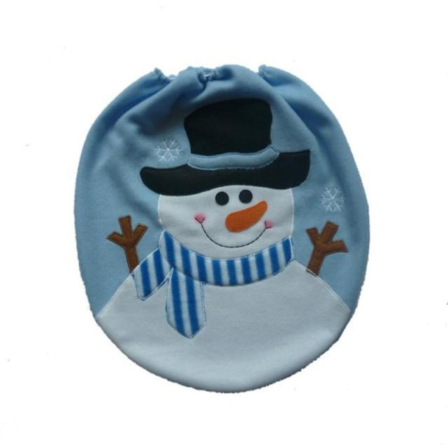 Santa Ornament Snowman Toilet Seat Cover Christmas Xmas Decoration For Home Single Toilet Cover - LADSPAD.UK