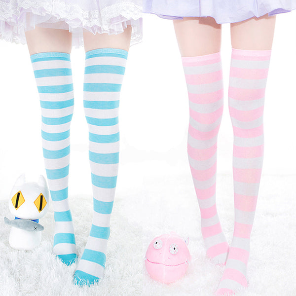 Womens / Girls Over Knee Long Stripe Printed Thigh High Striped Patterned Socks - LADSPAD.UK