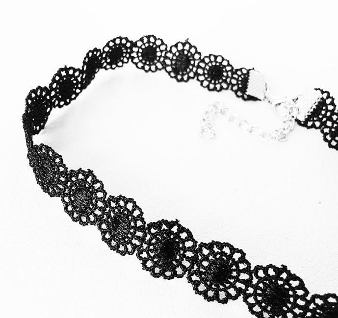 Vintage Black Lace Sunflower Tattoo Gothic Necklace Choker - LADSPAD.COM