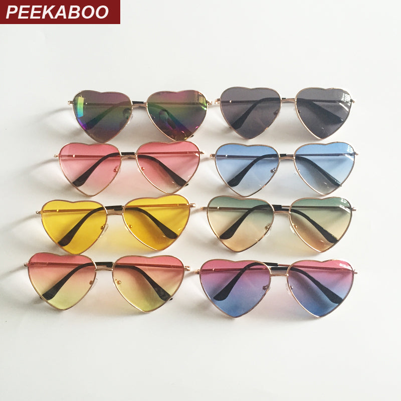 Peekaboo metal frame heart shaped sunglasses women heart clear party cheap sun glasses for women pink yellow uv400 - LADSPAD.COM