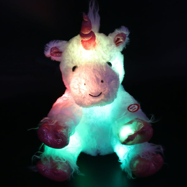 Dropshipping 30cm/40cm LED Lumious Night Light Stuffed Unicorn Stuffed Animals Plush Toys Colorful LED Toys Christmas Birthday