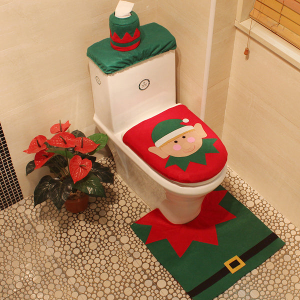 4 Styles 1 Set/3pc Fancy Happy Santa Toilet Seat Cover Rug Bathroom Set Decoration Rug Christmas Decoration - LADSPAD.COM