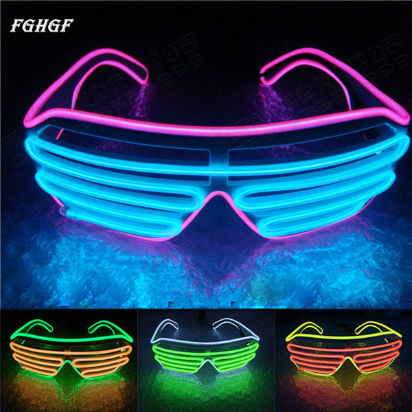 LED Neon Light Up Shutter Shaped Glow Glasses - LADSPAD.UK