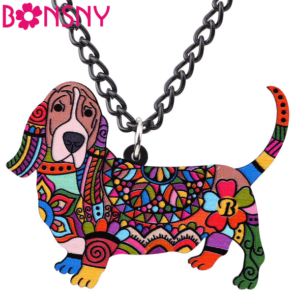Bonany Statement Acrylic Pattern Basset Hound Dog Necklace - LADSPAD.UK