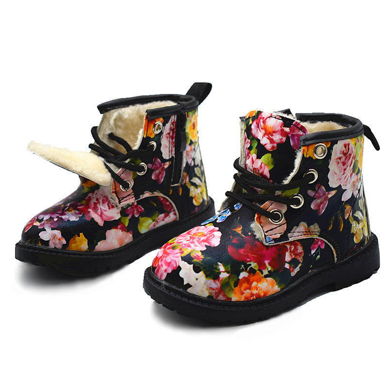 Girls Boots 2017 Winter Plush Children Cute Flower Girls Baby Snow Boots Warm Shoes PU Leather Rubber Kids Shoe Martin Boots - LADSPAD.COM